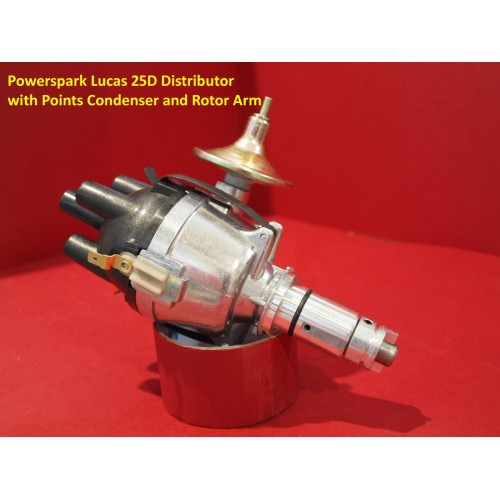 Powerspark Lucas 25D4 Distributor Top Entry Cap with Points Condenser and Rotor Arm Fitted   D1-Powerspark