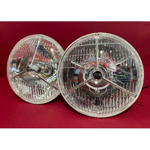 """P700  7"""" Lucas style Headlamps for H4 Halogen Globes   Sold as a pair    P700"""